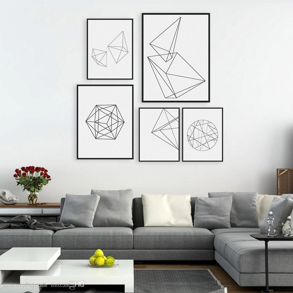 Latest 2018 Modern Nordic Minimalist Black White Geometric Shape A4 Large For Large Black And White Wall Art (View 8 of 15)