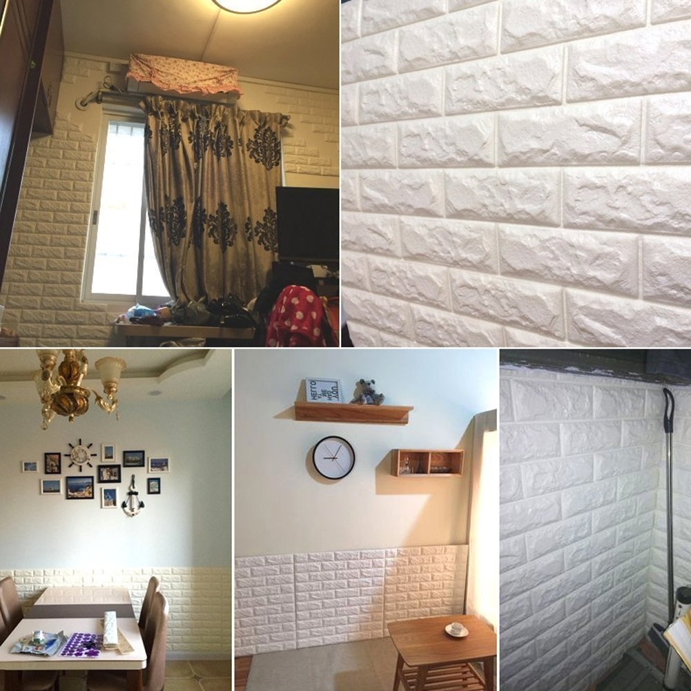 Latest 3D Brick Wall Art With Amazon: 20Pcs 3D Brick Wall Stickers Self Adhesive Panel Decal (View 11 of 15)