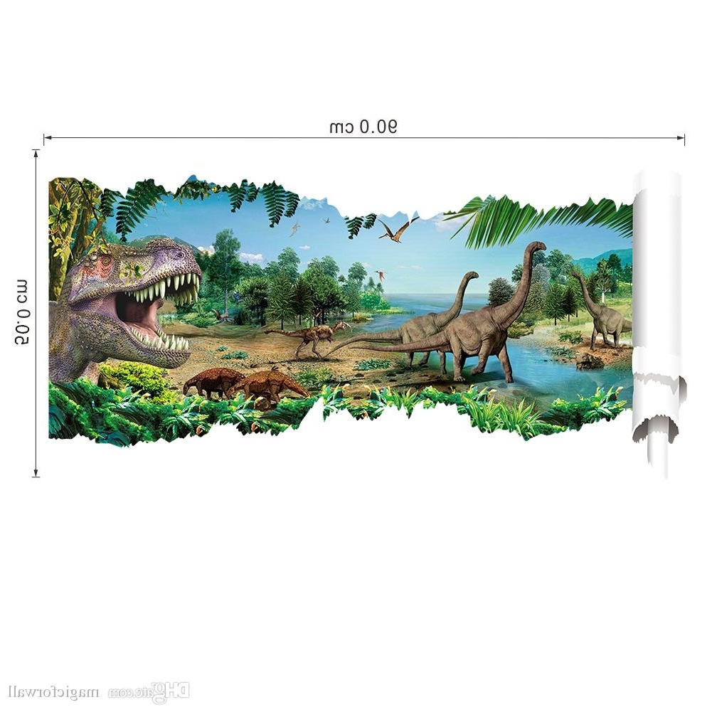 Latest 3D Dinosaur Wall Art Decor Inside 3D View Cartoon Dinosaur Wall Decal Sticker Boyes Kids Room (View 7 of 15)