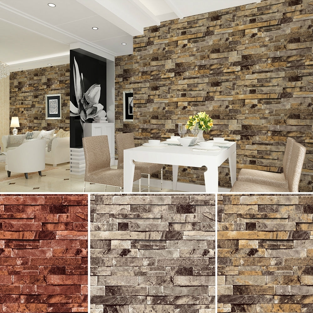 Latest 3d Little Brown Pony Wall Art Decor Pertaining To Vinyl Vintage Faux Brick Stone 3d Wallpaper For Home Bathroom (View 15 of 15)
