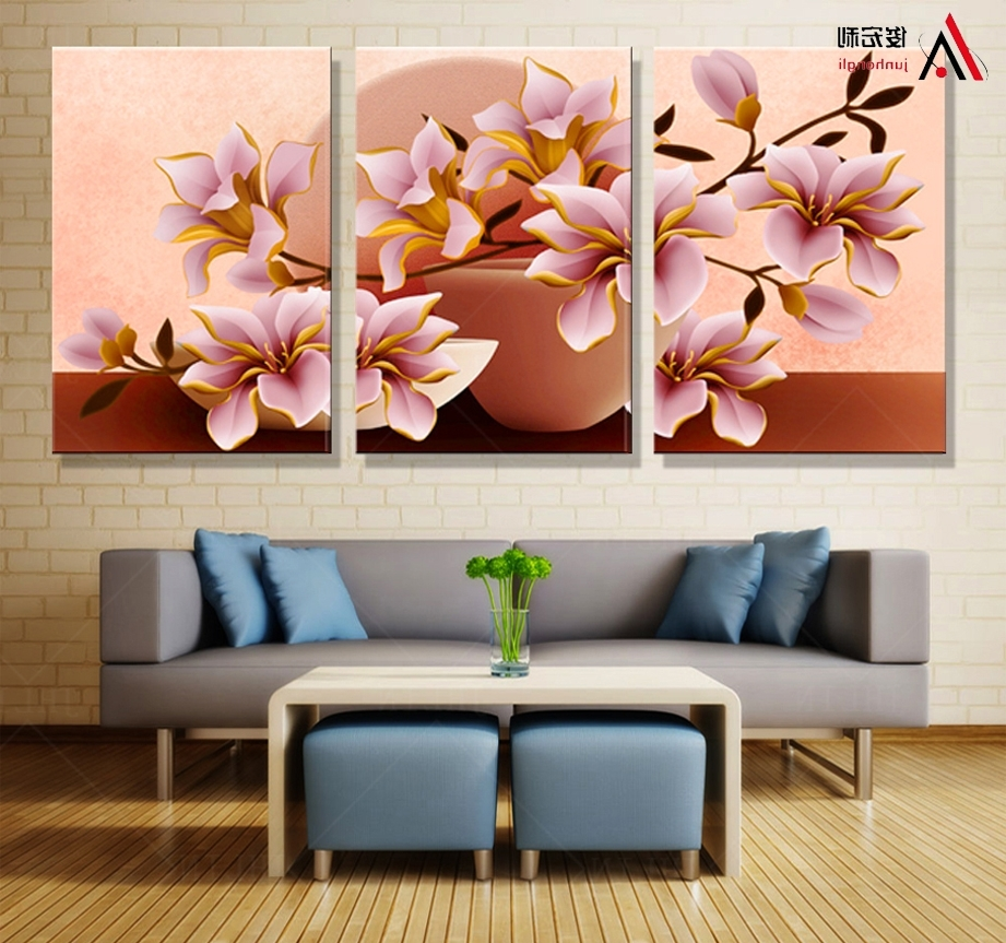 Latest 3d Wall Art Canvas Regarding 3 Piece Canvas Wall Art 3d Modular Paintings On The Wall (View 13 of 15)