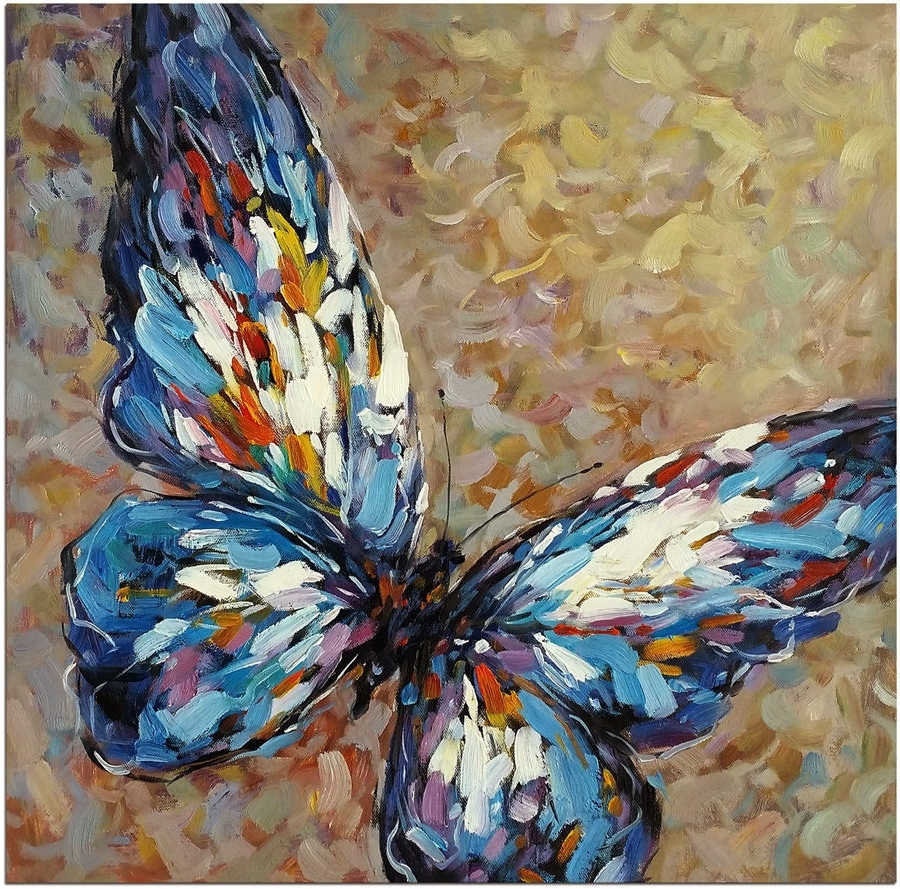 "Latest Abstract Butterfly Wall Art Pertaining To Blue Butterfly – 20x20"" Hand Painted Modern Impressionist Oil (View 12 of 15)"