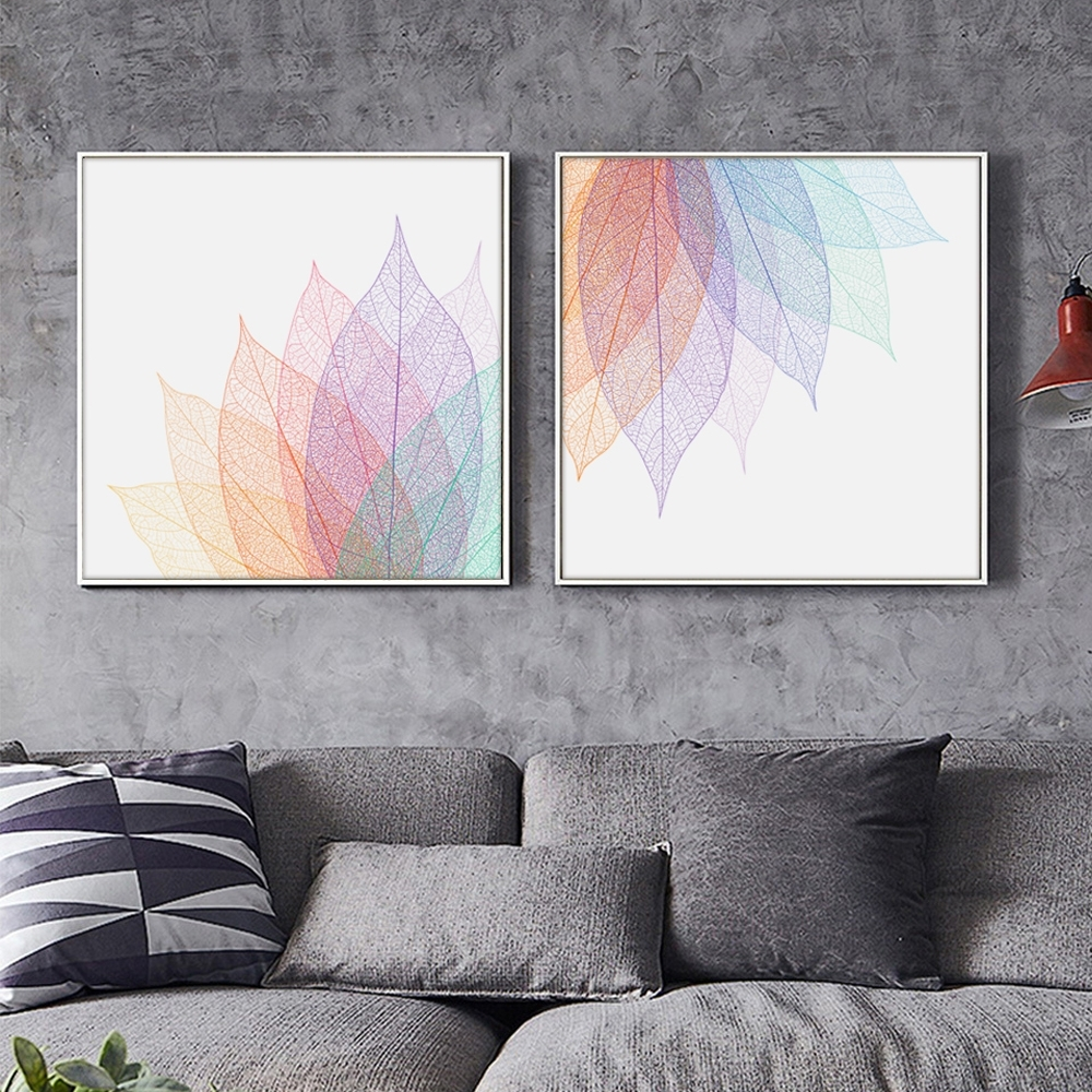 Latest Abstract Leaves Wall Art Pertaining To Modern Simple Abstract Transparent Leaf Shape Lines A4 Canvas Art (View 7 of 15)