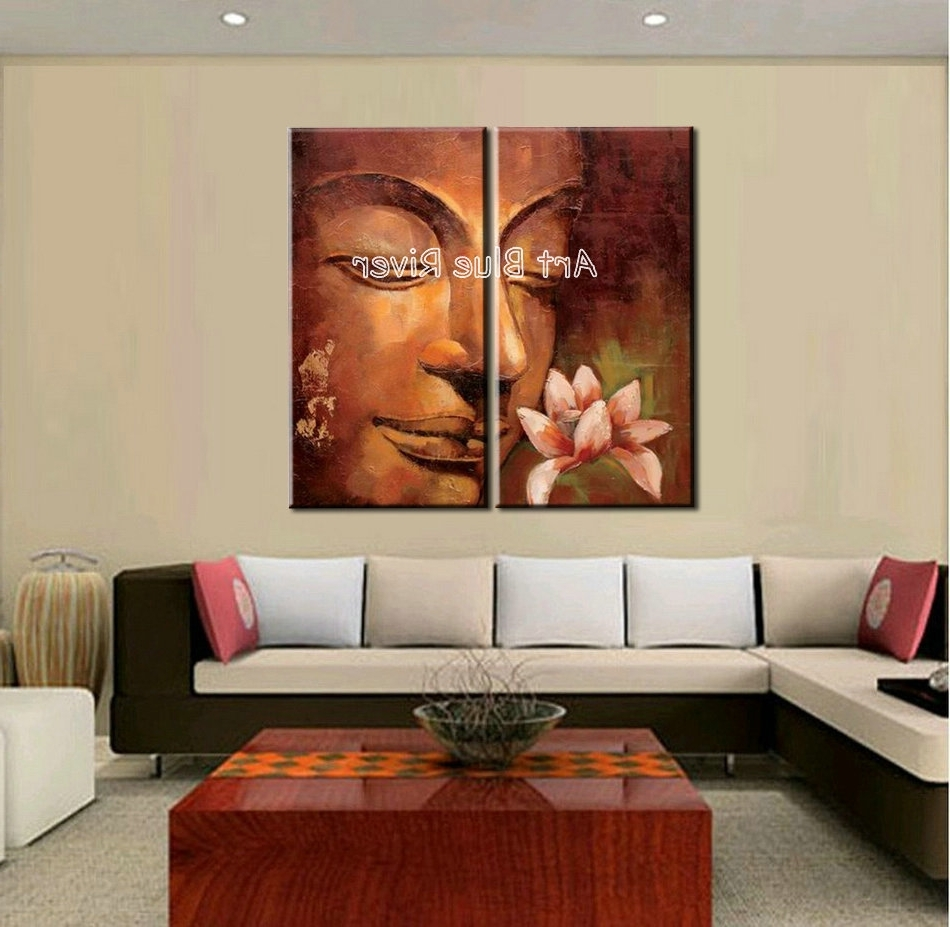 Latest Abstract Living Room Wall Art Regarding 2 Piece Abstract Modern Buddha Wall Art Handmade Classic Canvas (View 10 of 15)