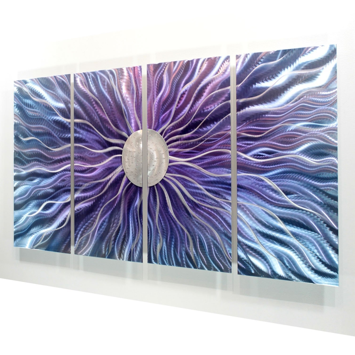 Latest Abstract Metal Wall Art Panels With Amazon: Large Blue, Purple, And Silver Metal Wall Art Painting (Gallery 13 of 15)
