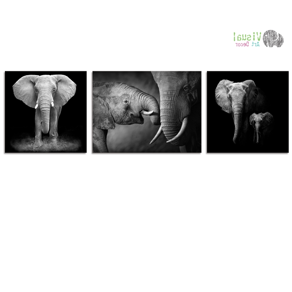 Latest Animal Canvas Wall Art With Regard To Black And White Canvas Wall Art Decor Animal Canvas Prints (View 9 of 15)
