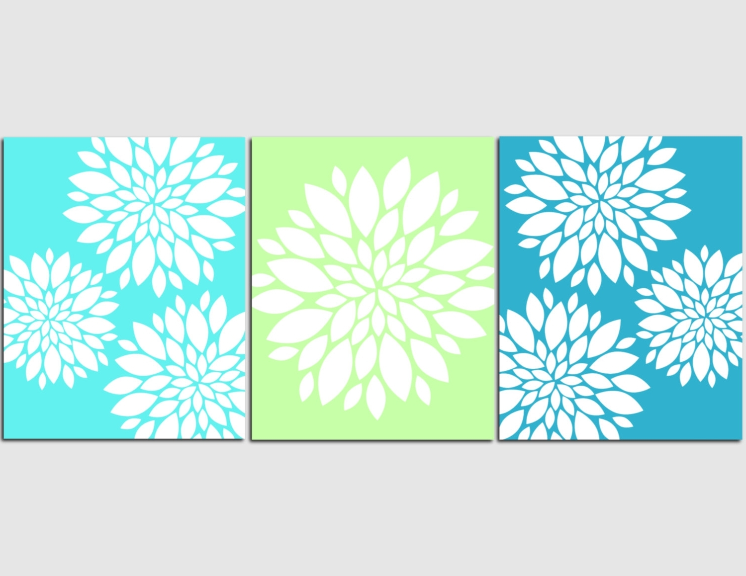 Latest Aqua Teal Lime Green Wall Art Home Decor Flower Burst, Floral With Regard To Teal And Green Wall Art (View 7 of 15)
