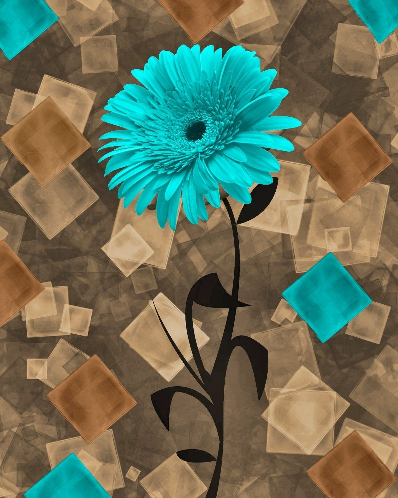 Latest Brown And Turquoise Wall Art Inside Teal Brown Daisy Flower Modern Bathroom Bedroom Home Decor Wall (View 2 of 15)
