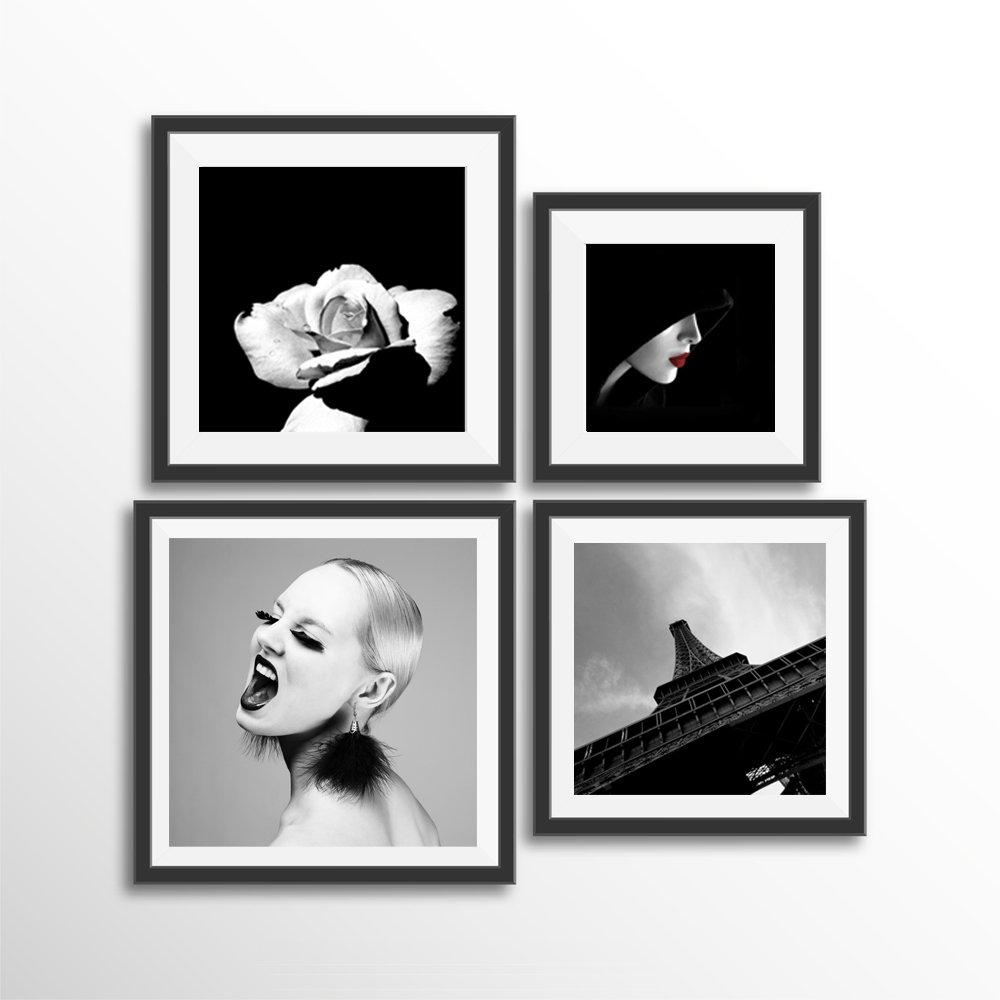 Latest Canvas Print Wall Art Pictures Poster Fashion Girl Lipstick Eiffel Intended For Black And White Framed Wall Art (View 8 of 15)