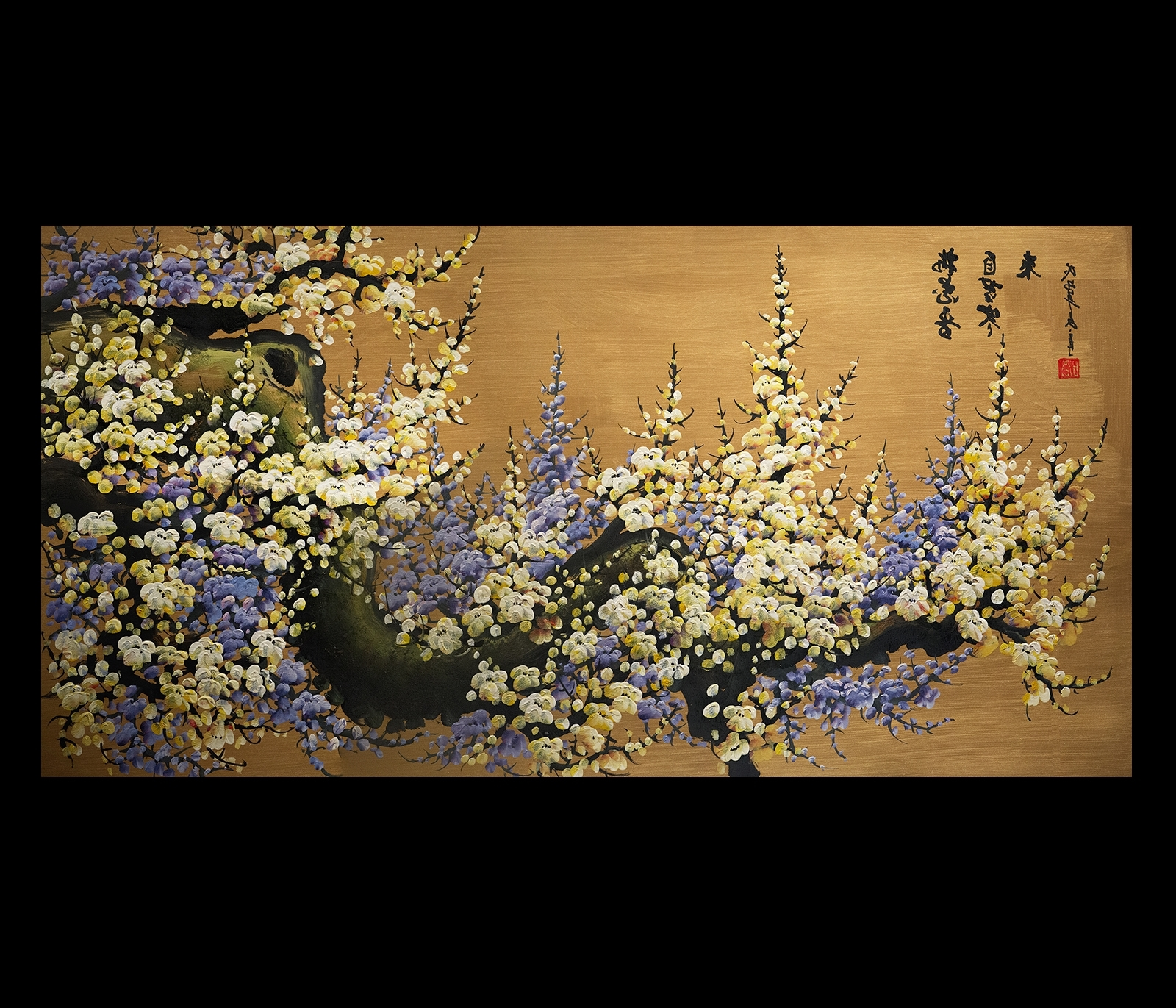 Latest Canvas Wall Art Japanese Cherry Blossom Painting Feng Shui In Abstract Cherry Blossom Wall Art (Gallery 11 of 15)