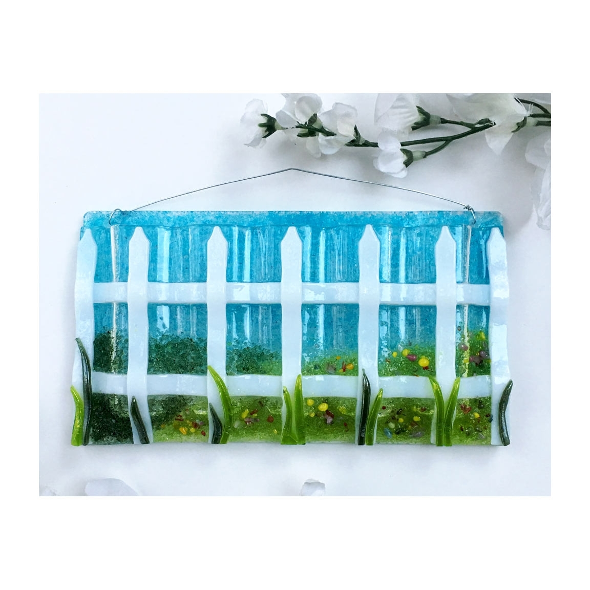 Latest Large Fused Glass Wall Art With Regard To Large Horizontal Medium Fence With Grass (View 8 of 15)