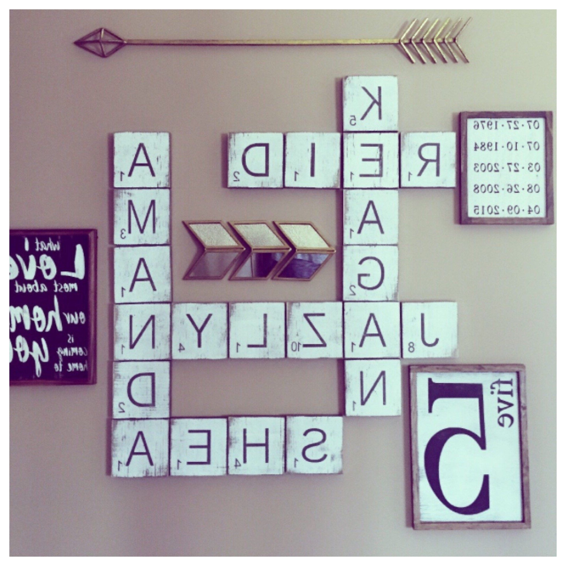 "Latest Large Letter ""scrabble"" Style Tiles For The Wall  (View 4 of 15)"