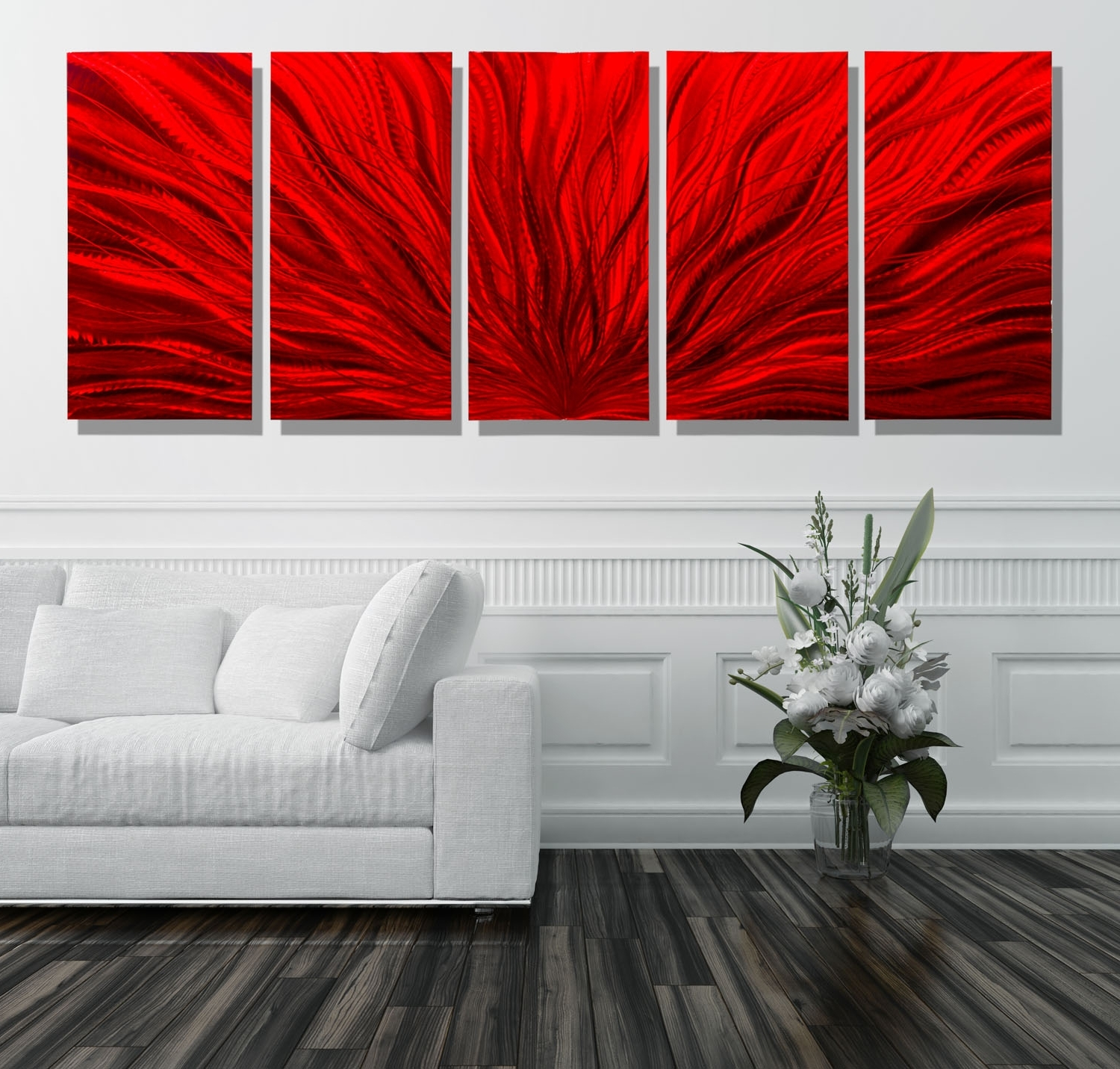 Latest Large Modern Wall Art Inside Red Plumage – Extra Large Modern Abstract Metal Wall Artjon (View 8 of 15)
