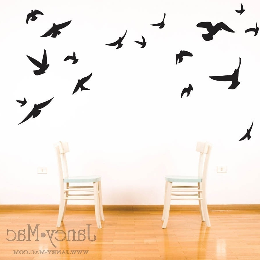Latest Metal Flying Birds Wall Art In Bird Wall Decal – Flying Birds Vinyl Wall Art Room Decor Sticker (View 6 of 15)