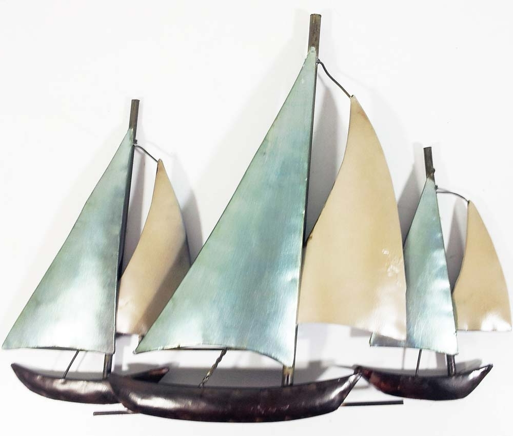 Latest Metal Wall Art – 3 Sail Boats At Sea For Boat Wall Art (View 1 of 15)