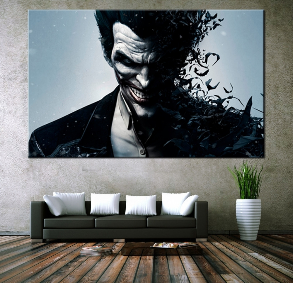 Latest Movie Themed Wall Art For Wall Art Canvas Movie Poster Batman Joker Poster Print On Canvas (View 3 of 15)