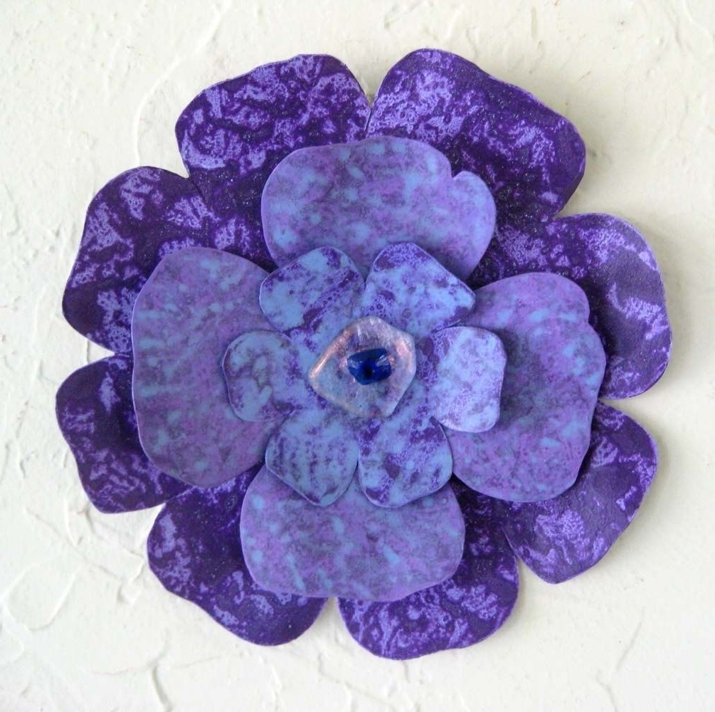 Latest Purple Flower Metal Wall Art Throughout Custom Handmade Upcycled Metal Flower Wall Art In Blue, Purple (View 4 of 15)