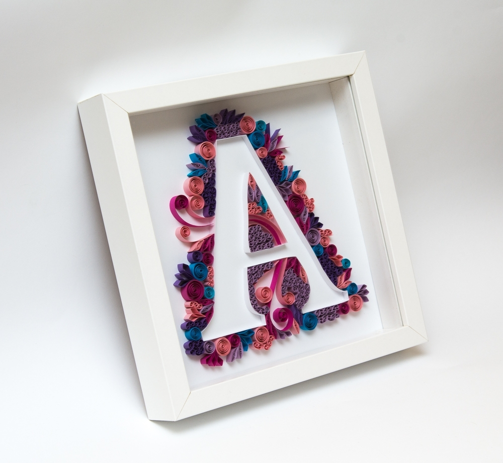 Latest Quilling Art Quilled Monogram Letter A Initial Personalized Gift Pertaining To Framed Monogram Wall Art (View 5 of 15)