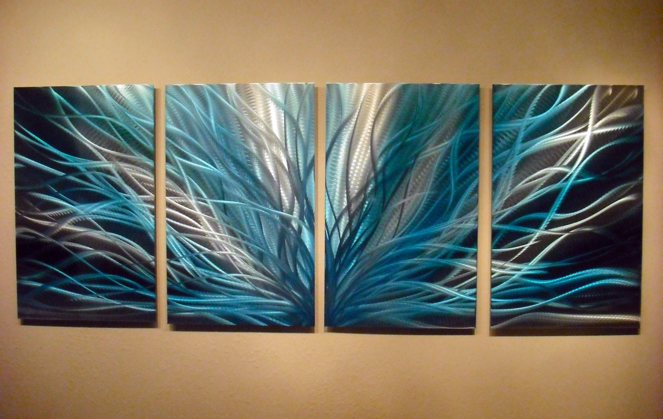 Latest Radiance In Blues  Abstract Metal Wall Art Contemporary Modern Within Teal Metal Wall Art (View 4 of 15)