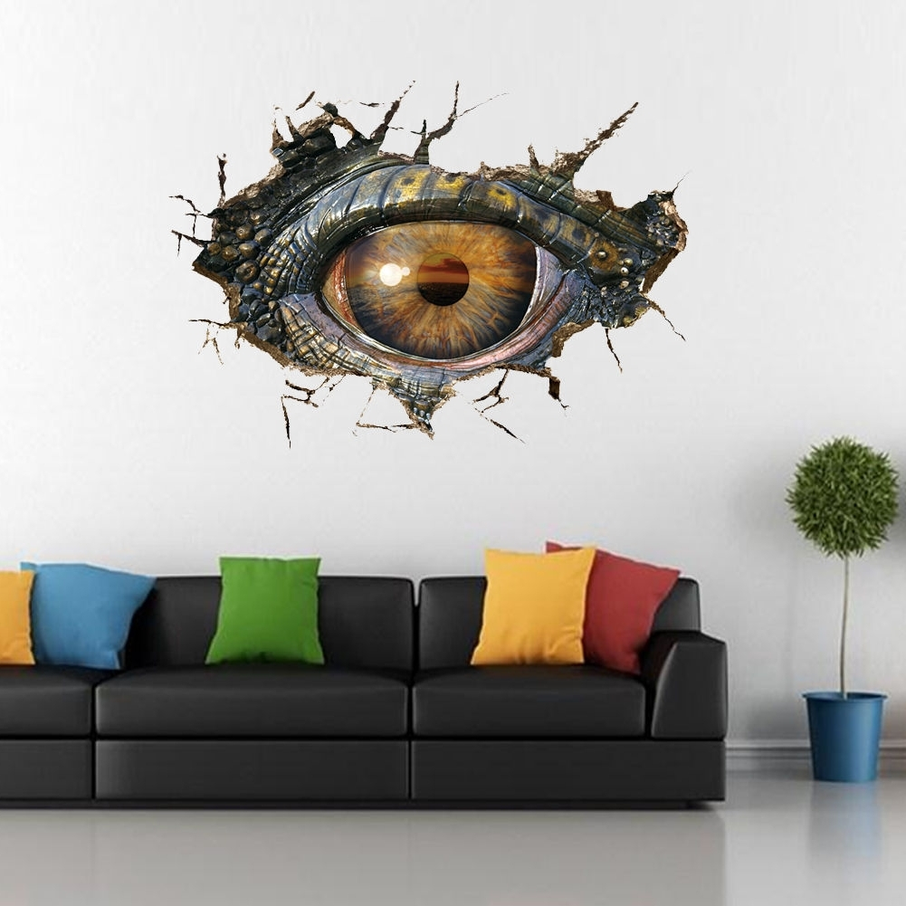 Latest Removable Dinosaur Eye 3D Cracked Wall Sticker Pvc Mural Decal Intended For 3D Dinosaur Wall Art Decor (View 9 of 15)