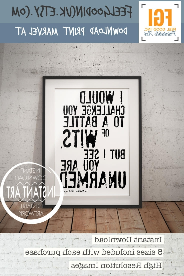 Latest Shakespeare Wall Art Pertaining To Sarcastic Shakespeare Quote – Battle Of Wits – Funny Shakespeare (View 3 of 15)