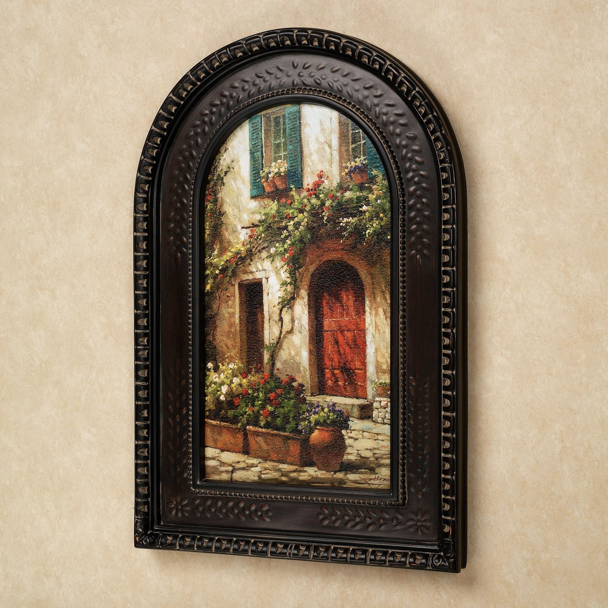 Latest Tuscan Italian Canvas Wall Art Regarding Red Door Italian Scene Arched Framed Wall Art (View 3 of 15)