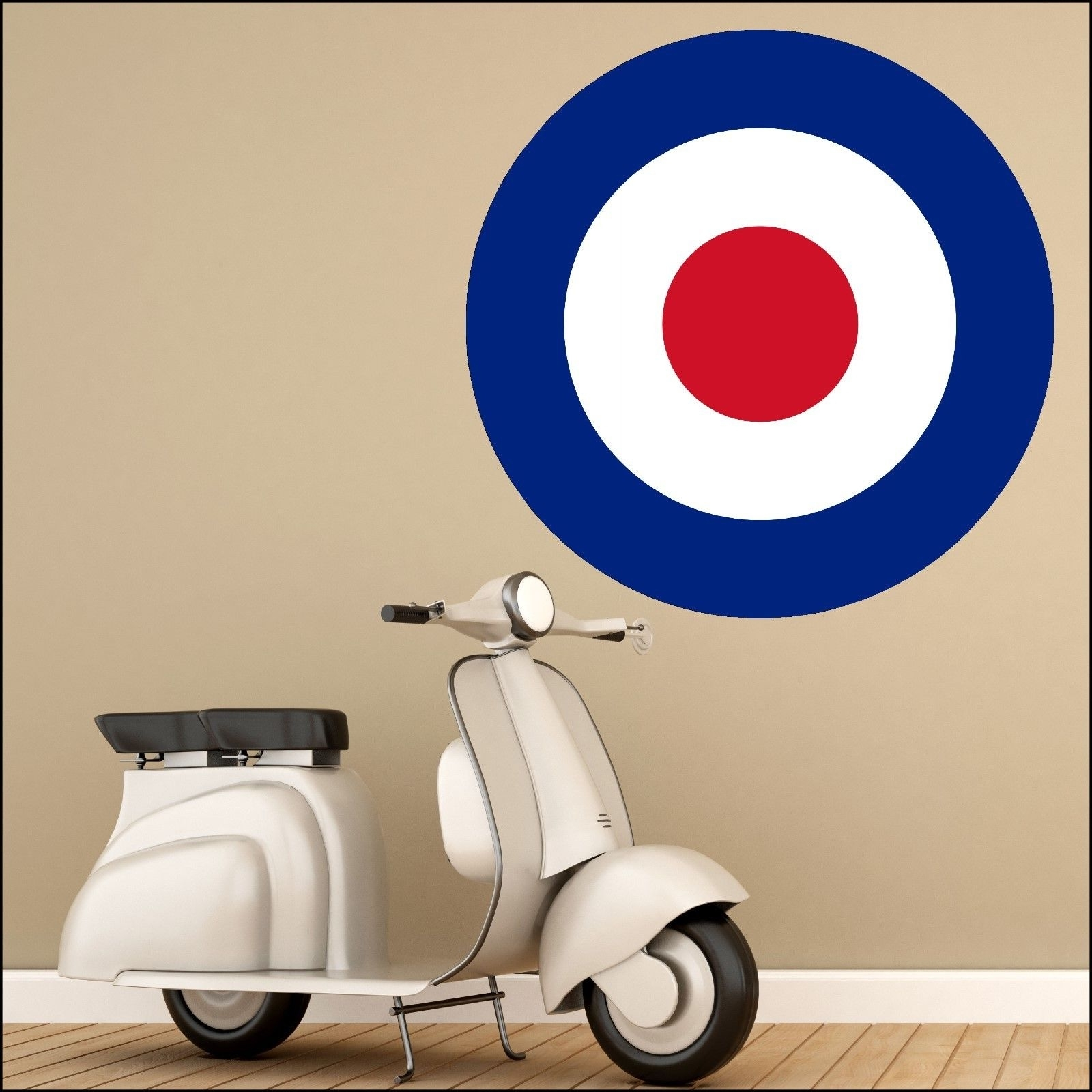 Latest Vespa 3D Wall Art With Regard To Large Mod Mods Scooter Red White Blue Target Wall Art Sticker  (View 4 of 15)