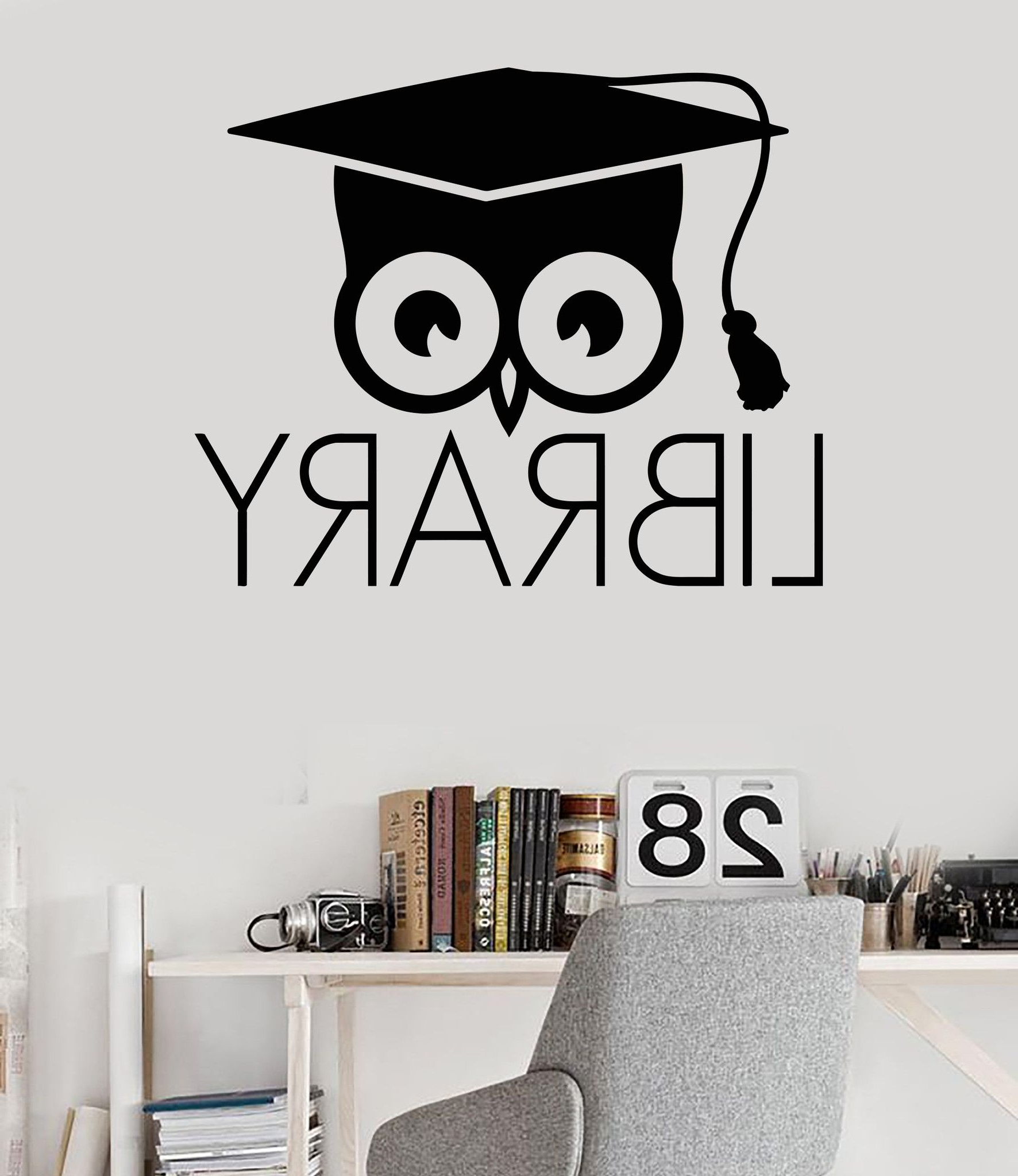 Latest Vinyl Wall Decal Library Books Bookworm Academic Owl Scientific For Preschool Classroom Wall Decals (View 8 of 15)