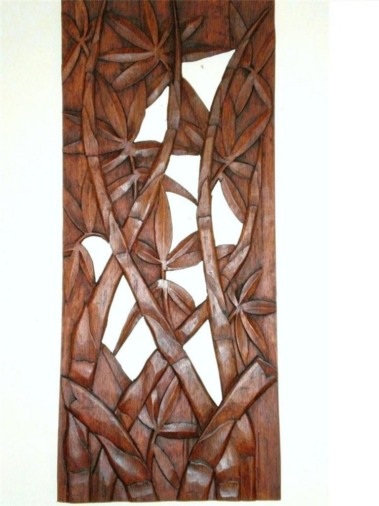 Latest Wall Art Designs: Wood Carved Wall Art Bali Bamboo Leaves Wall Art Pertaining To Wooden Wall Art Panels (View 2 of 15)