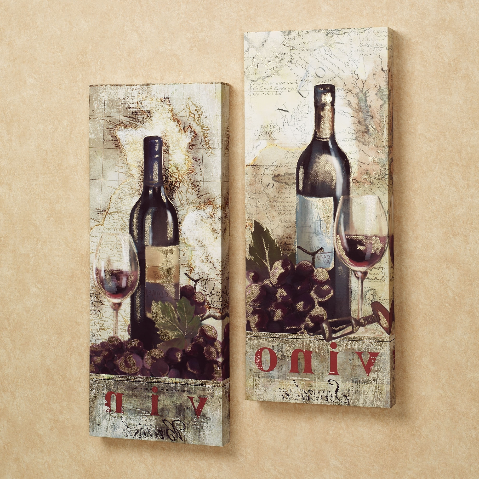 Latest Wall Art Ideas Design : Marlot Chardonnay Wine Canvas Wall Art With Regard To Grape Wall Art (View 9 of 15)