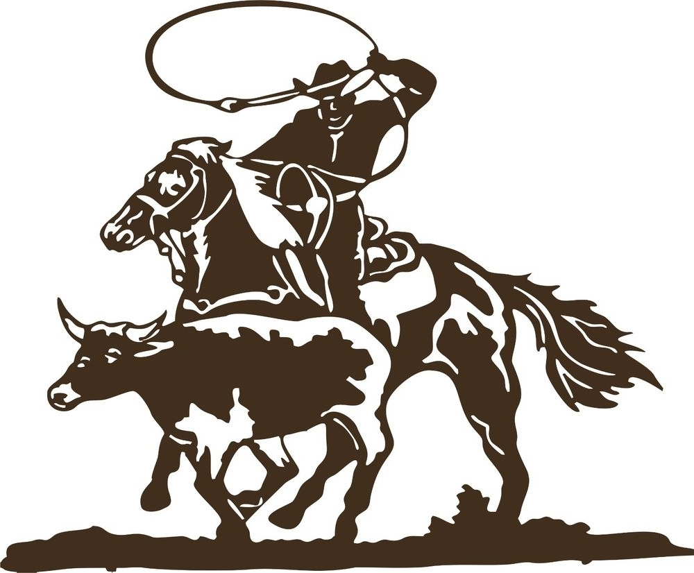 Latest Western Metal Art Silhouettes In Cowboy Roping Calf Western Rodeo Bull Horse Car Truck Window Vinyl (View 4 of 15)