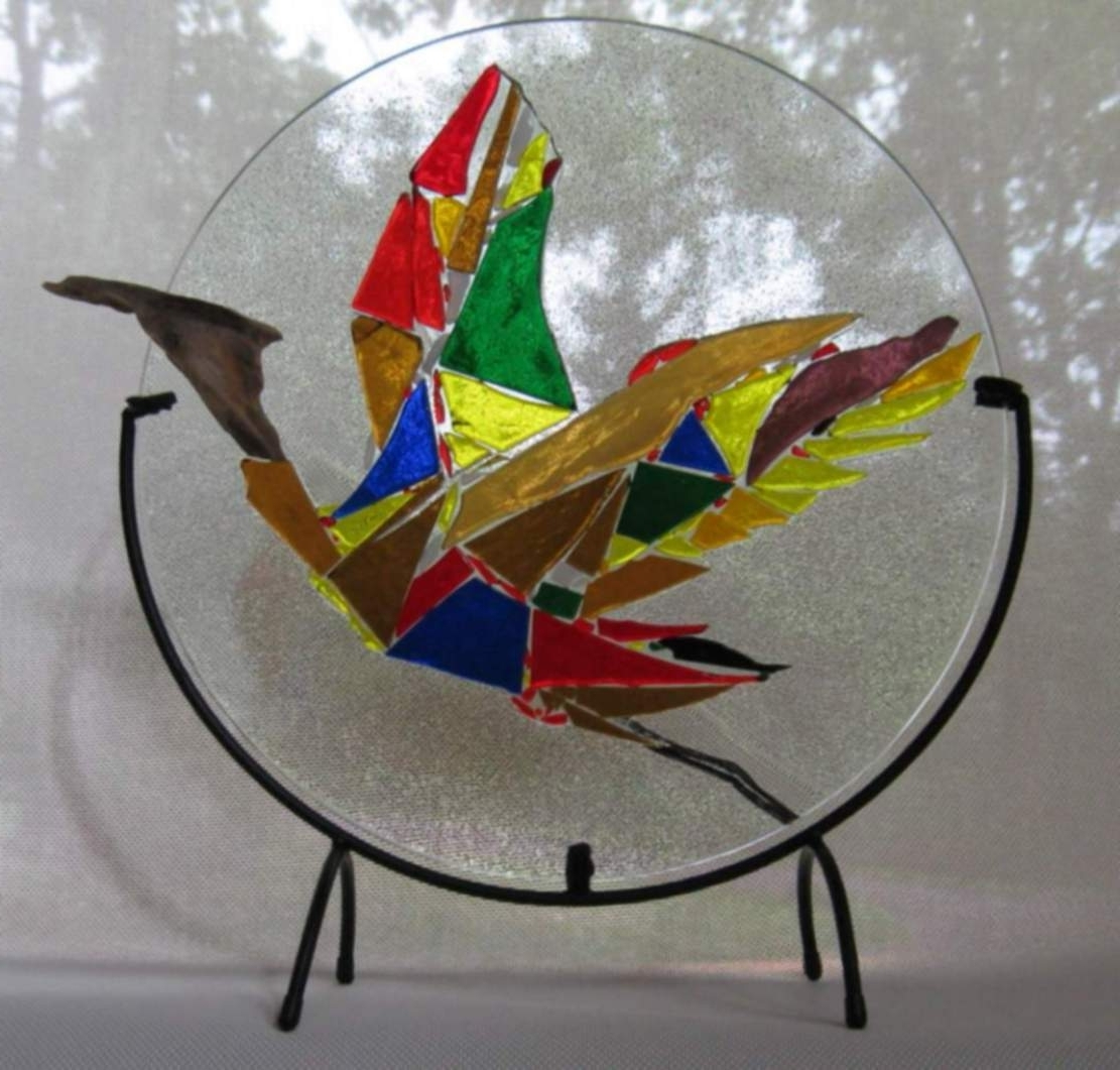Latest Win Peterman Artwork: Birds Of A Feather 2 Coat Of Many Colors Within Fused Glass Wall Art For Sale (View 11 of 15)