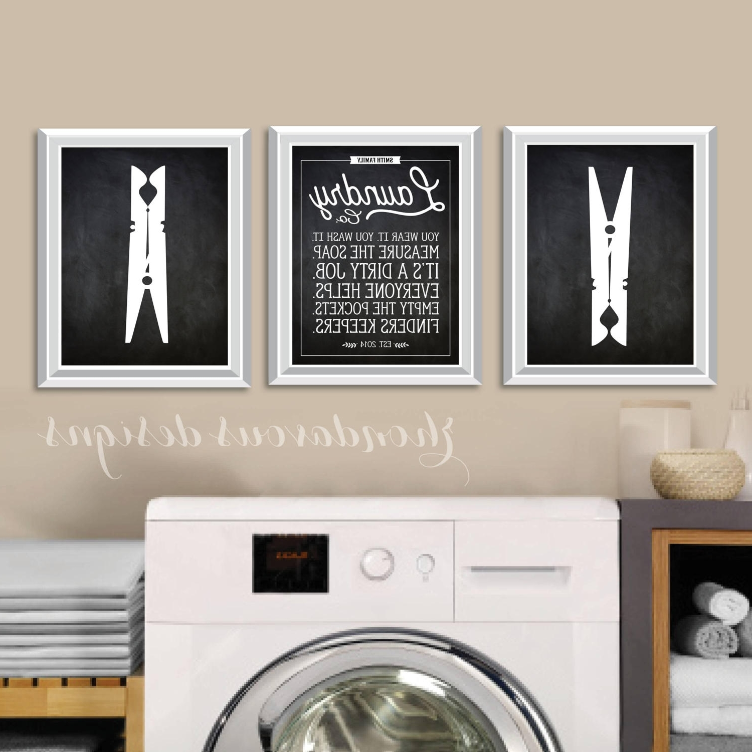 Laundry Wall Art, Chalkboard Quotes, Antique Signs, Farmhouse For Preferred Laundry Room Wall Art (View 11 of 15)