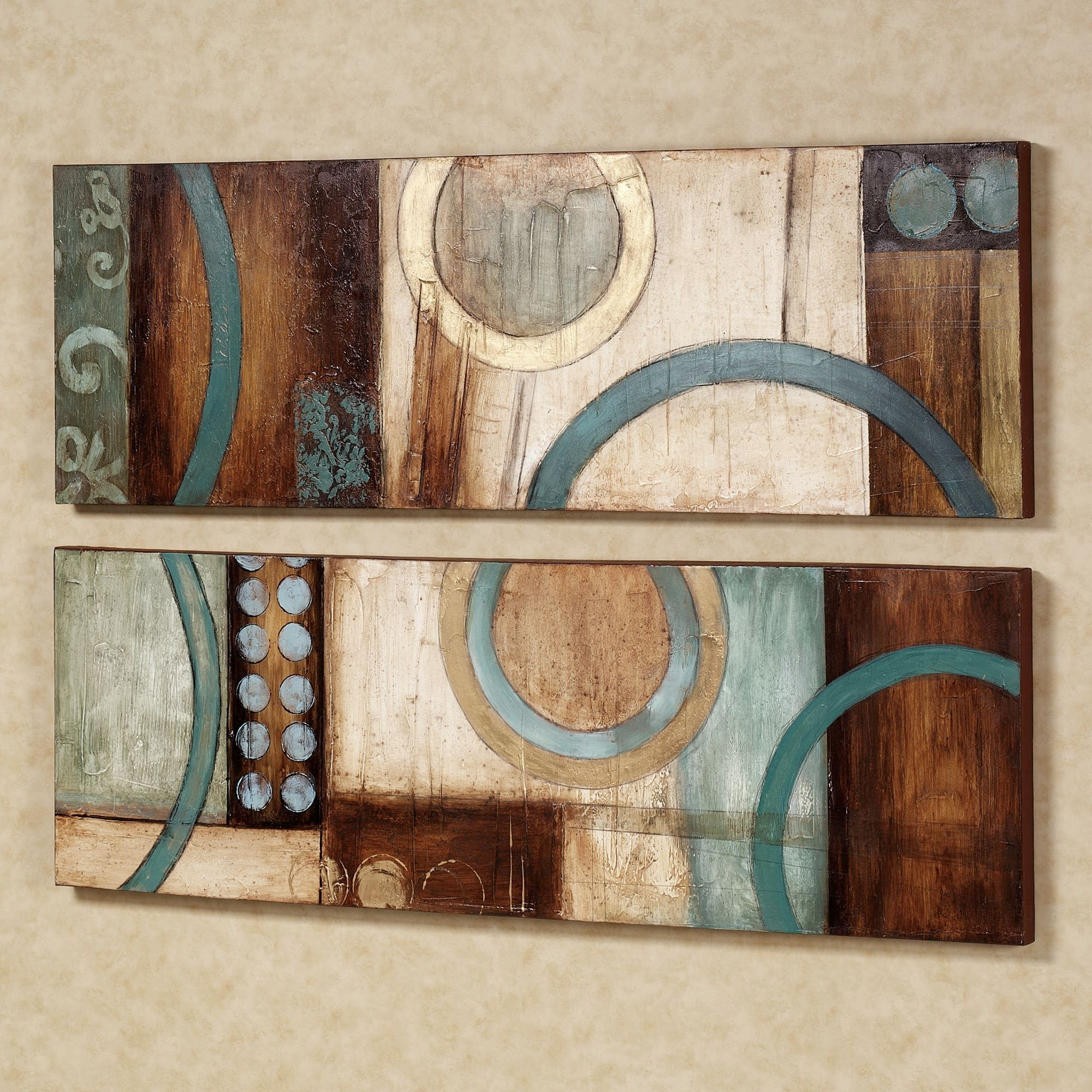 Lavare Canvas Wall Art Set Throughout Most Current Teal And Brown Wall Art (View 7 of 15)