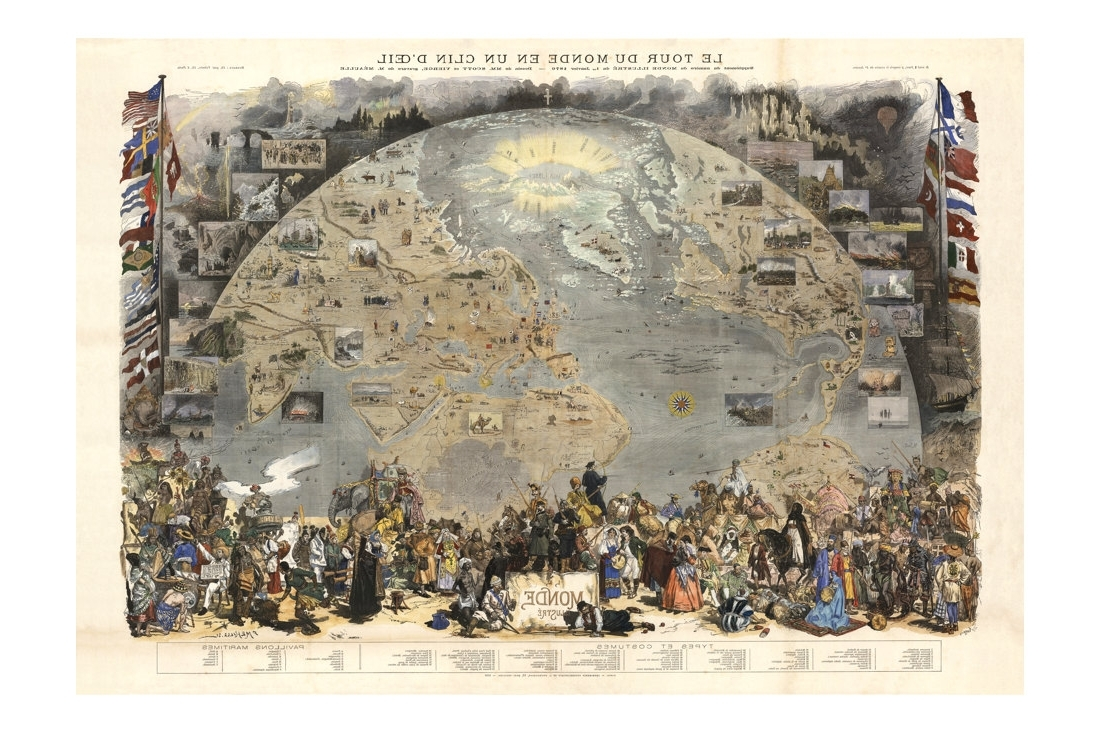 Le Tour Du Monde Antique World Map – Old Maps And Prints – Wall Throughout Most Recent Old World Map Wall Art (View 14 of 15)