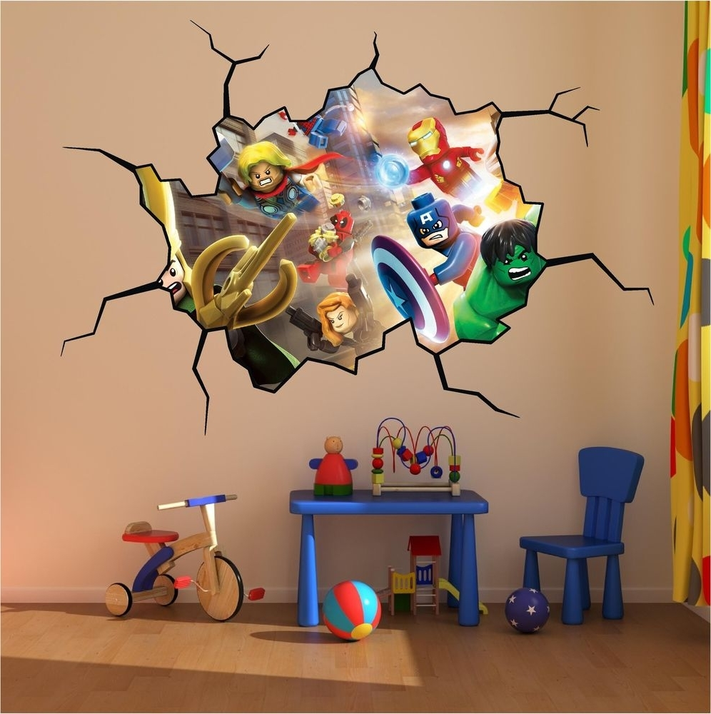 Lego Super Heroes Cracked Wall Full Colour Print Wall Art Sticker Regarding Most Current Superhero Wall Art Stickers (View 8 of 15)