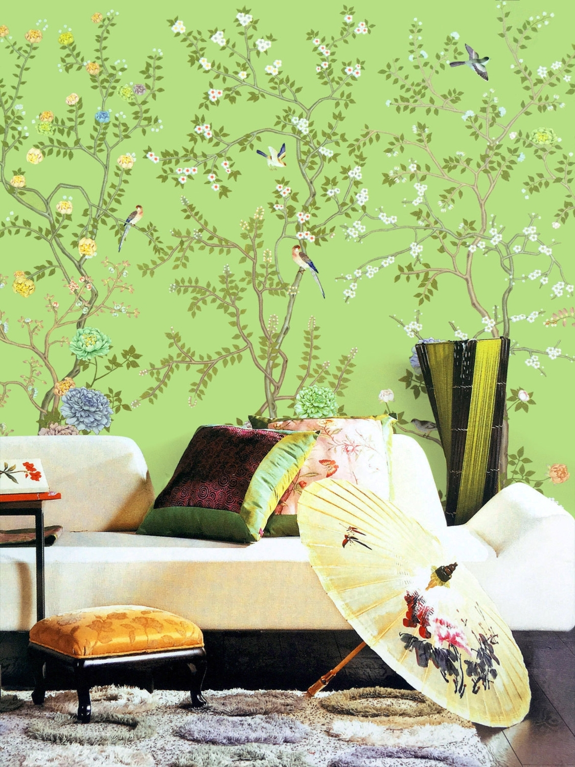 Lemon Green Chinoiserie Wallpaper Exotic Birds Trees Flowering Within Popular Chinoiserie Wall Art (View 11 of 15)