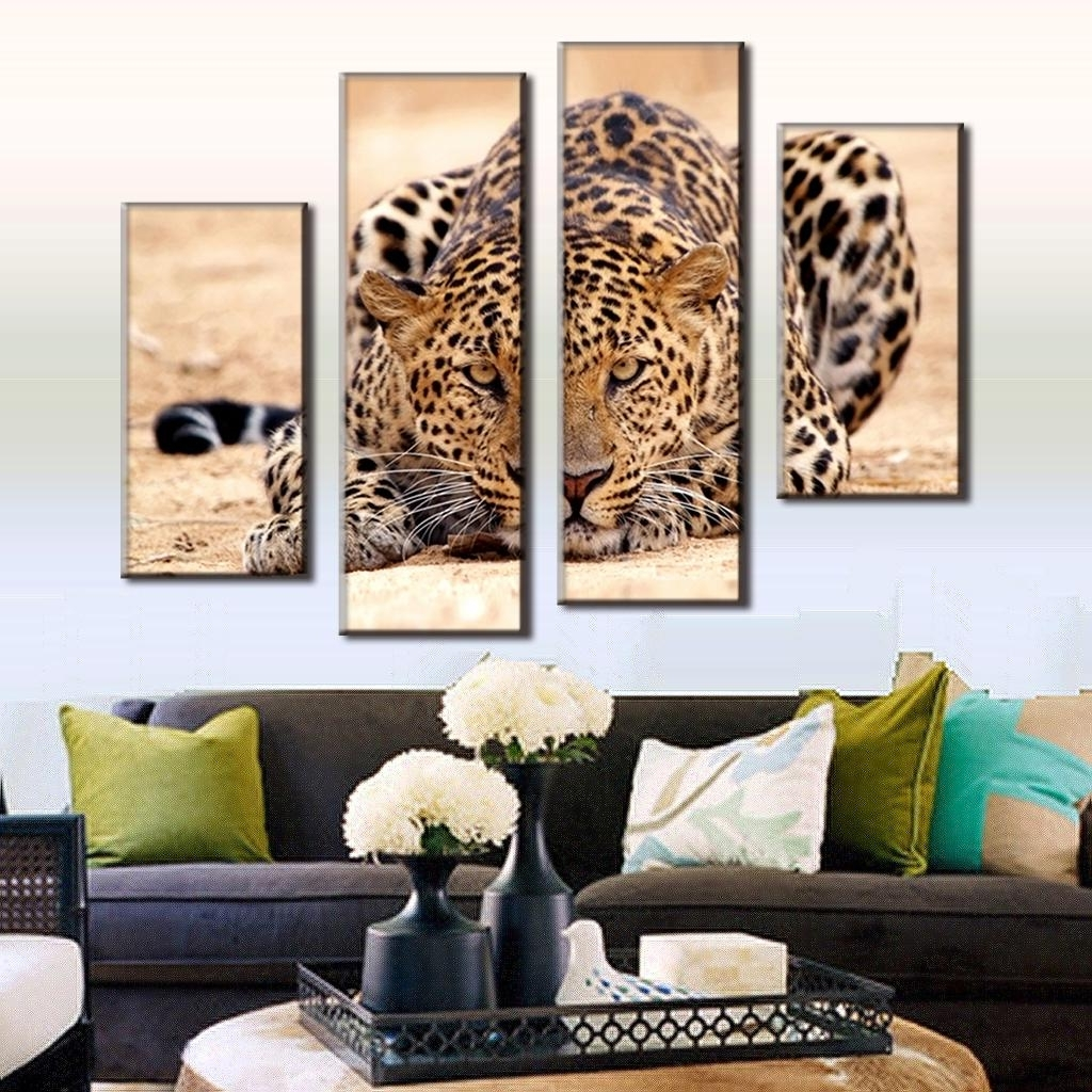 Leopard Print Wall Art Pertaining To Well Known 4 Pcs/set Excellent Large Canvas Paintings Animal Wall Art Picture (View 7 of 15)