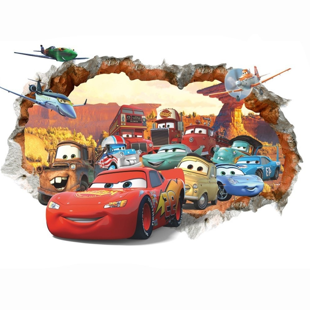 Lightning Mcqueen Wall Art Inside Most Up To Date Amazon: Cars 3d Wall Decal Children Themed Art Wall Sticker (View 7 of 15)