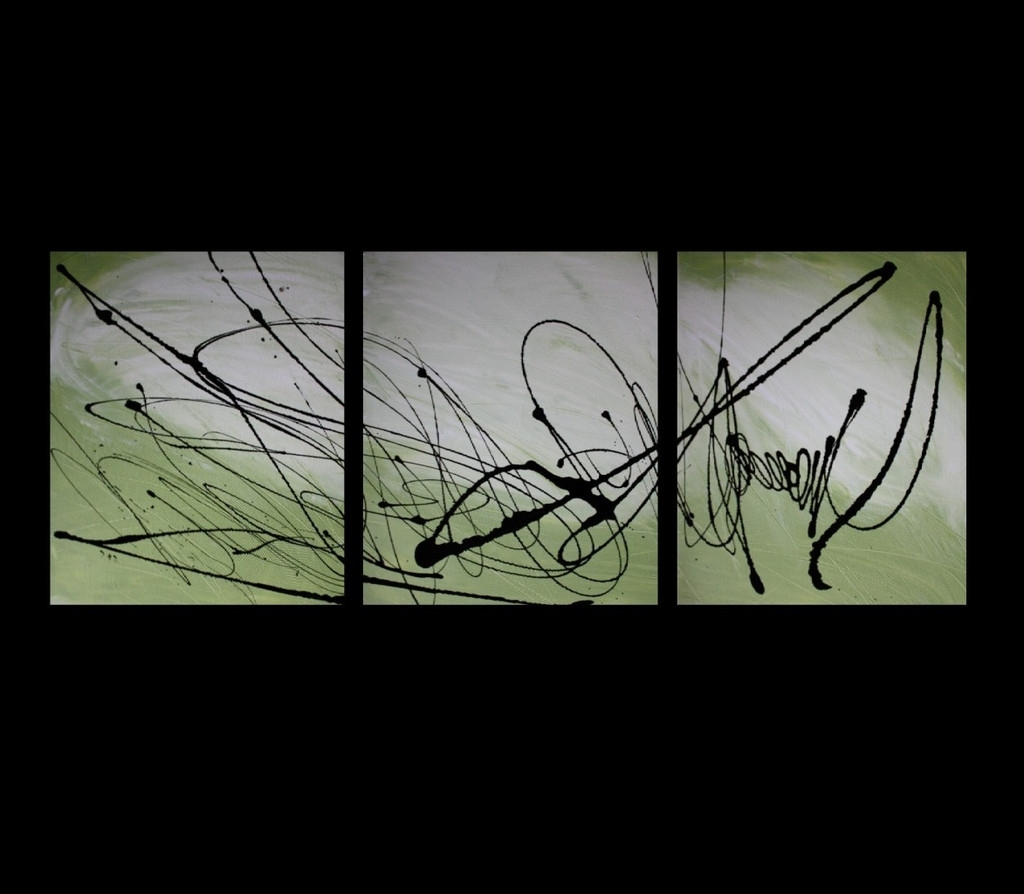 Lime Green Abstract Wall Art For Newest Abstract Art Canvas Painting Lime Green White Black Wall Art (View 7 of 15)