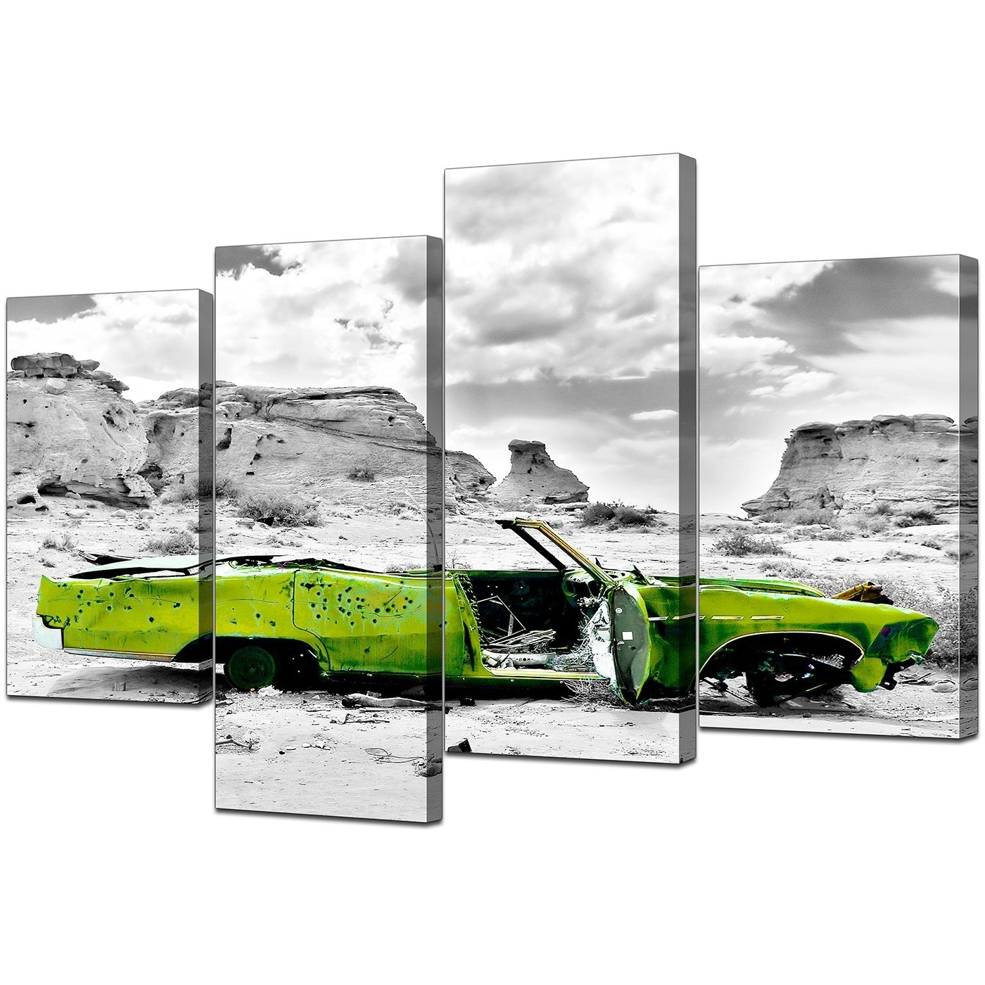Lime Green Abstract Wall Art Regarding Preferred Canvas Art Of Green Car In Black & White For Your Office (View 12 of 15)