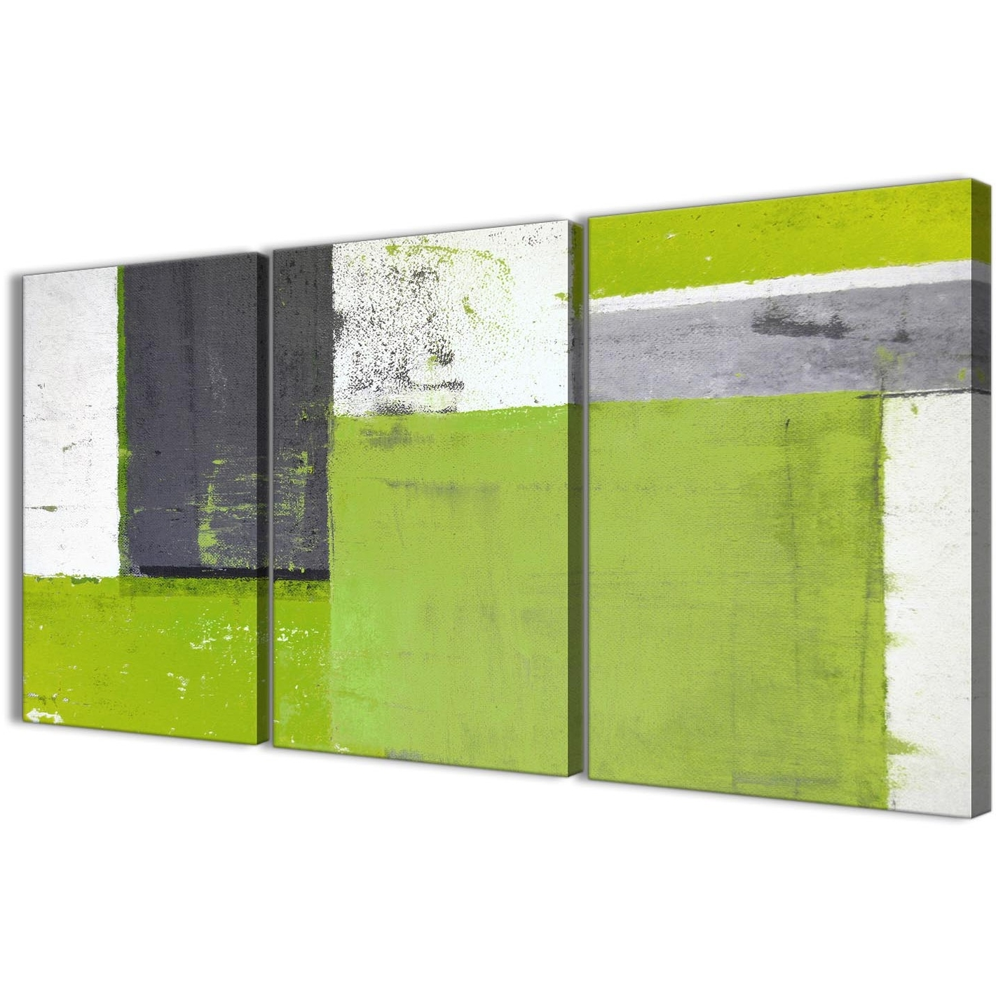 Lime Green Grey Abstract Painting Canvas Wall Art Print – Multi With Most Recent Green Canvas Wall Art (View 8 of 15)