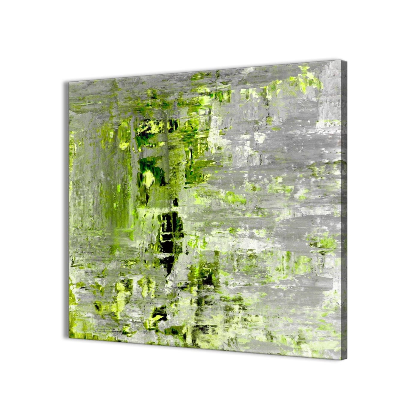 Lime Green Grey Abstract Painting Wall Art Print Canvas – Modern Pertaining To Well Known Lime Green Abstract Wall Art (Gallery 6 of 15)