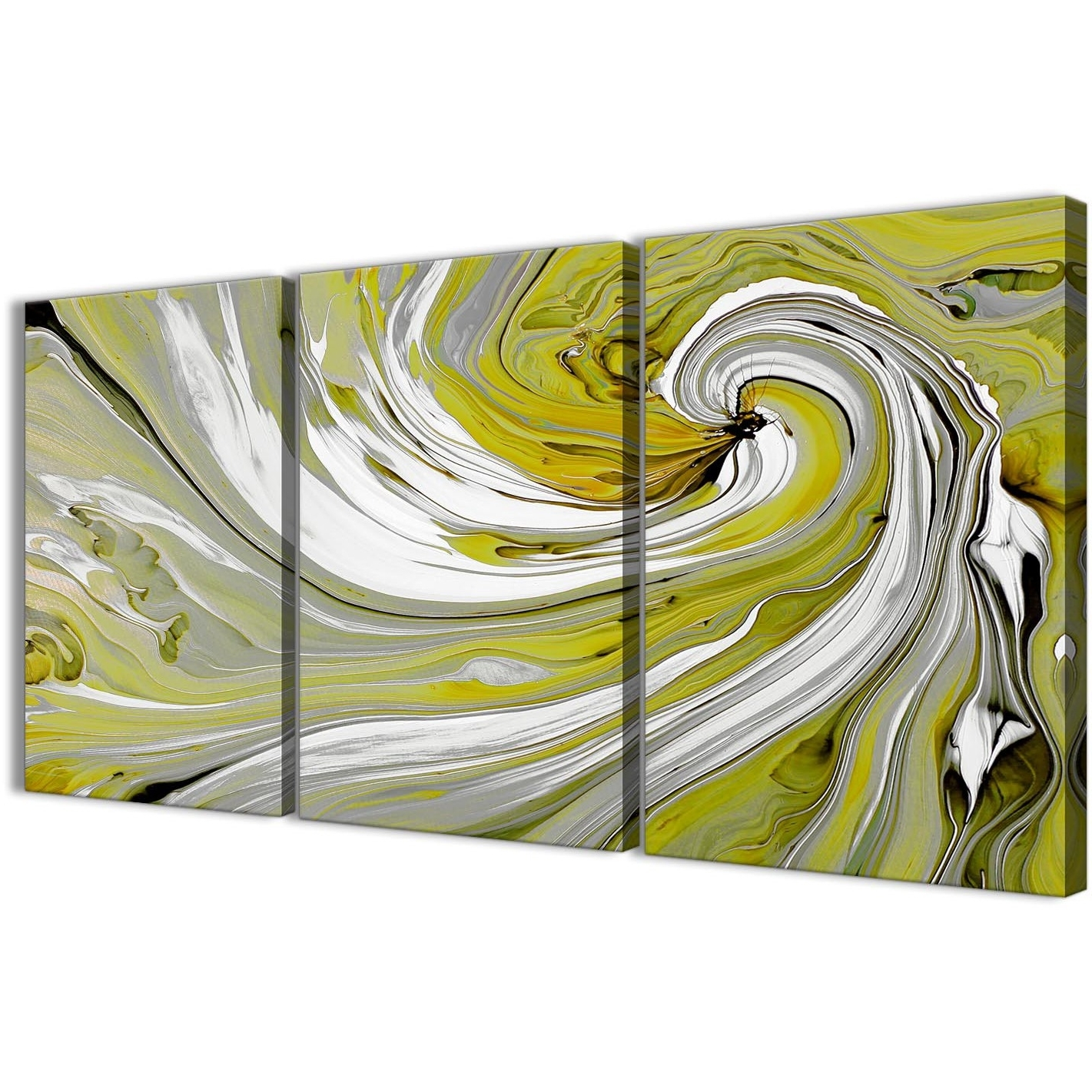 Lime Green Swirls Modern Abstract Canvas Wall Art – Split 3 Piece Intended For 2018 Lime Green Abstract Wall Art (Gallery 9 of 15)