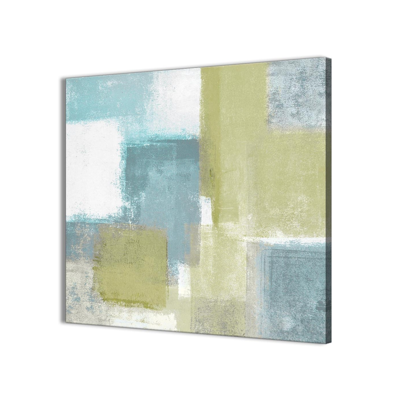 Lime Green Teal Abstract Painting Canvas Wall Art Print – Modern With Most Current Yellow And Green Wall Art (View 5 of 15)