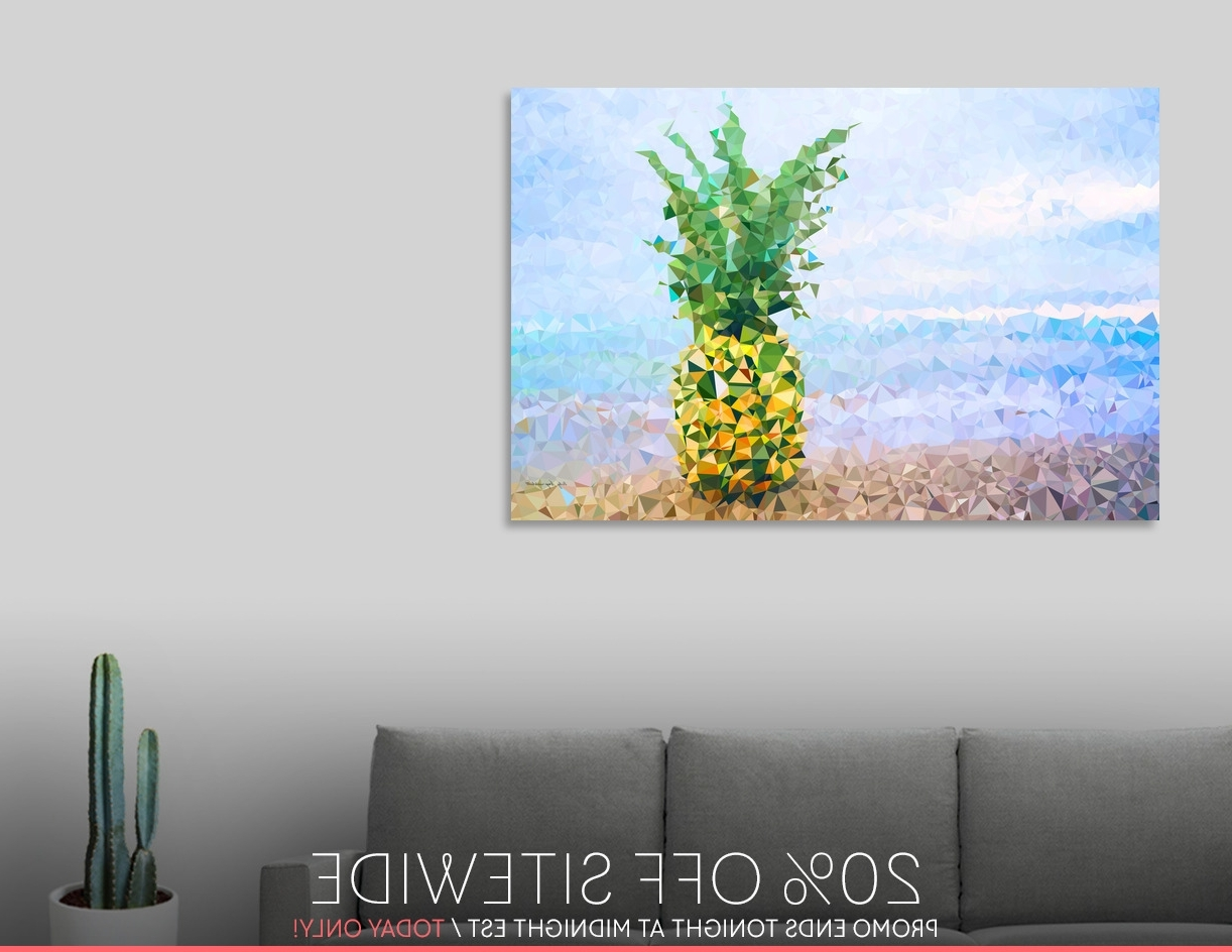 Limited Edition Canvas Wall Art With Regard To Most Up To Date Discover «Pineapple On Beach Tropical Paradise Triangles», Limited (View 8 of 15)