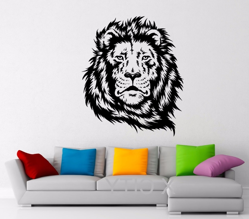 Lion King Of African Animal Black Wall Art Decal Sticker Removable Throughout Most Popular Lion Wall Art (View 5 of 15)