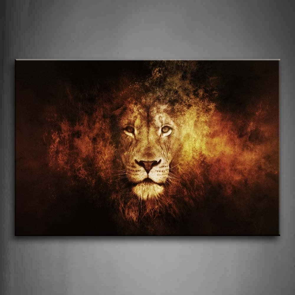 Lion Wall Art With Latest Amazon: Lion Head Portrait Wall Art Painting Pictures Print On (View 7 of 15)