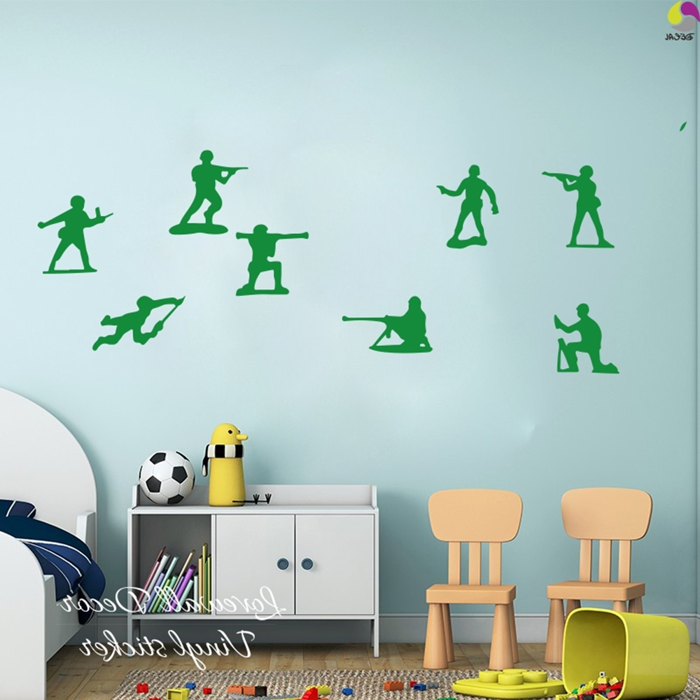 Little Army Men Toy Soldiers Toy Story Boys Wall Sticker Boys Room Intended For Popular Toy Story Wall Stickers (View 13 of 15)