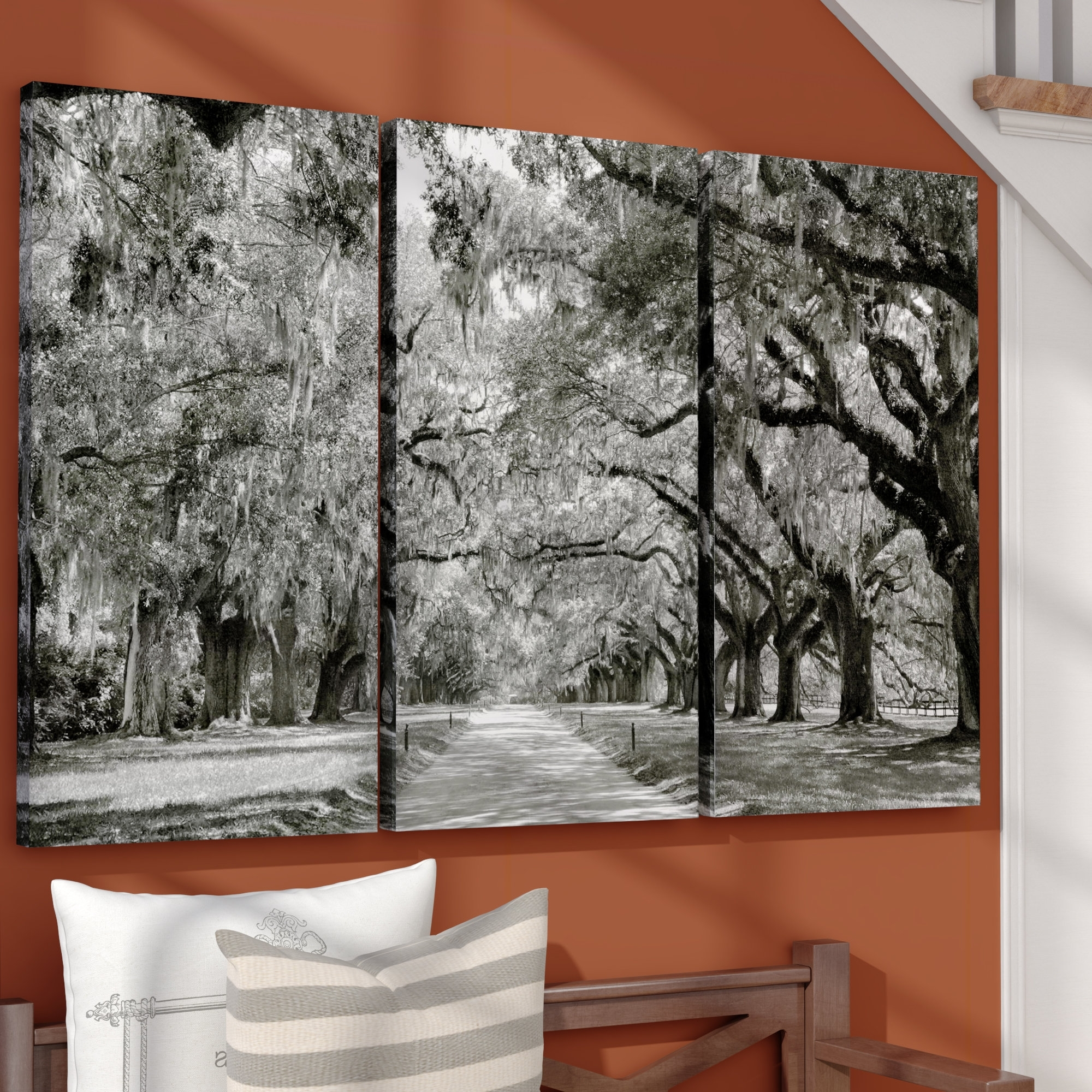 Live Oak Tree Wall Art With Recent Alcott Hill 'live Oak Avenue' 3 Piece Photographic Print On (View 5 of 15)